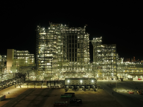 Night view of the polyethylene units in Old Ocean, TX. (Photo: Business Wire)
