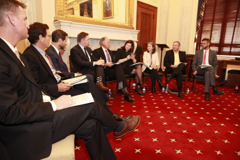 Sarah Caswell, Edeniq's VP of Government and Regulatory Affairs (fourth from the right), at a Fuels America briefing in Washington, DC on November 8, 2017. (Photo: Business Wire)
