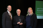 Photo: Harold Evensky, Evensky & Katz / Foldes Financial, winner of the 2017 TD Ameritrade Advocacy Award (center) with (l) Skip Schweiss, managing director, Advisor Advocacy & Industry Affairs, and (r) Kate Healy, managing director, Generation Next, both of TD Ameritrade Institutional (photo credit: Andrea Jacobson/The Observatory)