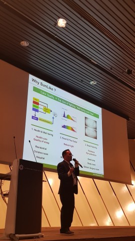 Seoul Semiconductor co-host of the opening event of PLDC in Paris, France. Yo Cho, director of Seoul Semiconductor's Lighting Divison explaining revolutionary SunLike Technology. (Photo: Business Wire)