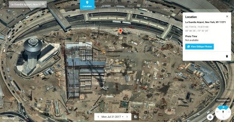 Nearmap Panorama enables users to view perspective maps in all cardinal directions for small or large areas in uninterrupted fashion. This photo details construction at LaGuardia Airport in New York. (Photo: Business Wire)