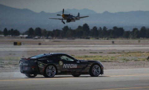 The Arrow SAM car set a new record top speed of 190 mph on Saturday during a Veterans Day demonstration at Nellis Air Force Base in Nevada. (Photo: Business Wire)