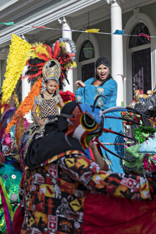 """Olga Tañón interprets the theme """"La vida es un carnaval"""" (Life is a carnival) for the filming that took place in Ponce. (Photo: Business Wire)"""