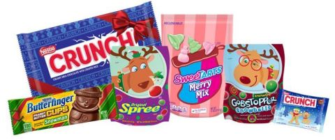 Spread Cheer All Season Long with Limited Edition Treats from BUTTERFINGER®, NESTLÉ ORIGINAL SPREE® and Everlasting GOBSTOPPER® Snowballs in Reindeer-themed packaging, NESTLÉ® CRUNCH®, and SweeTARTS® (Photo: Business Wire)