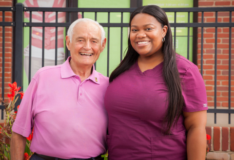 Bob Grant, one of 13 inductees in 2017 for the Fresenius Kabi blood Donor Hall of Fame, is pictured with Treasure Lambeth, a phlebotomist at Oklahoma Blood Institute (OBI). Mr. Grant has donated blood with OBI for four decades. In that time, Bob has given nearly 70 gallons of blood, adding up to more than 550 platelet and blood donations. (Photo: Business Wire)