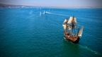 Maritime Museum of San Diego Galleon Replica San Salvador Sets Sail for Adventures at Sea and Visitor Day Sails during Pacific Heritage Tour (Photo: Chris Swezdo)