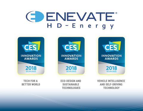 Enevate's HD-Energy Technology for Electric Vehicles recognized for three Consumer Electronics Show 2018 awards (Graphic: Business Wire)