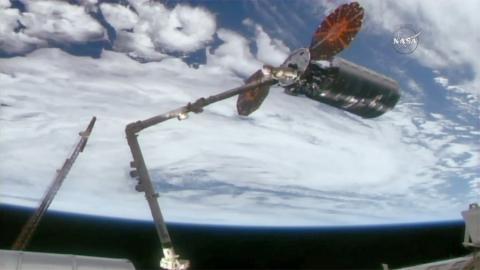 The International Space Station's robotic arm is seen grappling Orbital ATK's Cygnus cargo spacecraft on November 14, 2017. Credit: NASA TV