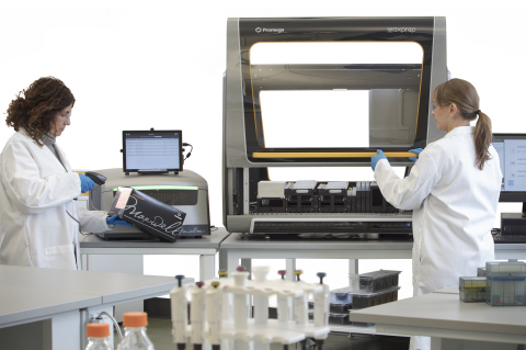 The Maxwell® RSC 48 (left) and the Maxprep™ Liquid Handler (right) are two new components developed by Promega for the company's new modular automated nucleic acid preparation system. The configurable system gives labs new found flexibility compared to large all-in-one instruments. (Photo: Business Wire)