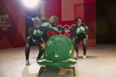 Visa Welcomes the Nigerian Women's Bobsled Team to Team Visa for the Olympic Winter Games PyeongChang 2018. From left to right: pilot Seun Adigun, brakeman Ngozi Onwumere, brakeman Akuoma Omeoga. (Photo: Business Wire)