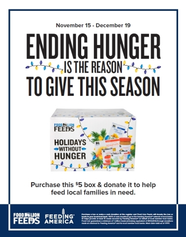 """Food Lion Feeds Launches """"Holidays Without Hunger"""" Campaign to Help Feed Local Families in Need This Holiday Season (Graphic: Business Wire)"""