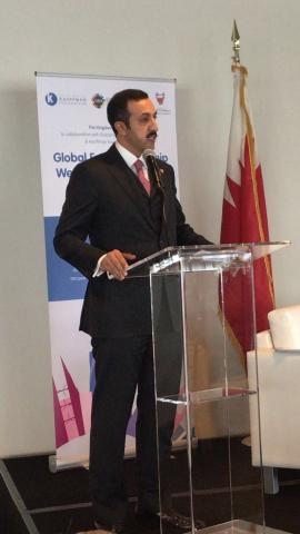 UN HQ: HE Sh. Abdulla bin Ahmed Al Khalifa Undersecretary for International Affairs speaks after ann ...
