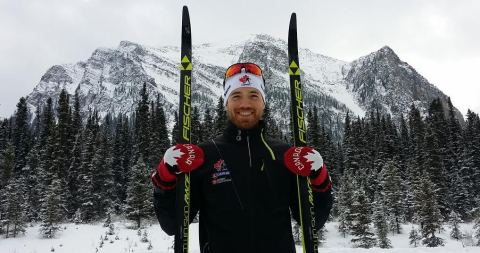 HBC Bursary Athlete Nathan Smith - Biathlon, showcases the new Hudson's Bay 2018 Red Mittens in honour of National Red Mitten Day, November 21, 2017 (Photo: Business Wire)