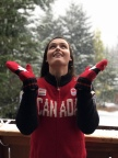 HBC Bursary Athlete Marielle Thompson - Ski cross, showcases the new Hudson's Bay 2018 Red Mittens in honour of National Red Mitten Day, November 21, 2017 (Photo: Business Wire)