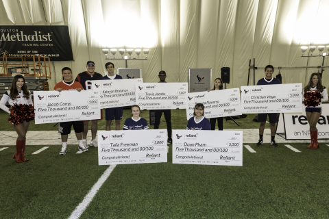 At Reliant's inaugural Charity Flag Football Game on November 14, 2017, local Houston-area high school students were recognized for their leadership and dedication to academics, athletics and community as part of the Scholarship for Champions program. (Photo: Business Wire)