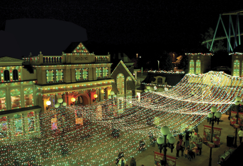 A magical park entrance with 165,000 twinkling lights greet all guests for Holiday in the Park at Si ...