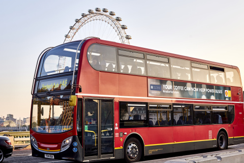 Shell and bio-bean announce that together they are helping to power some of London's buses using a biofuel made partly from waste coffee grounds (Photo: Business Wire)
