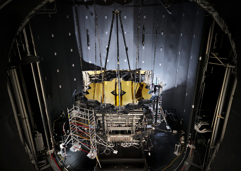 NASA's James Webb Space Telescope sits inside Chamber A at NASA's Johnson Space Center in Houston after having completed its cryogenic testing on Nov. 18, 2017. This marked the telescope's final cryogenic testing, and it ensured the observatory is ready for the frigid, airless environment of space. (Photo: NASA/Chris Gunn)