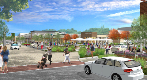 Renderings of Mill Station – a new, open-air shopping destination at the former Owings Mills Mall si ...
