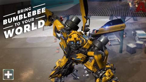 Play as BUMBLEBEE in the new Transformers AR experience for Apple iOS. (Graphic: Paramount Pictures/ ...