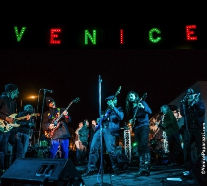 Scene from the 5th Annual Venice Holiday Sign Lighting in 2016 (photo credit: Venice Paparazzi)