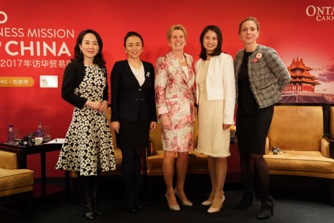 From Left to Right: Founder and CEO of DHgate.com, Diane Wang; Country Chair of the Man Group, China Yifei Li; Premier of Ontario, Canada Kathleen Wynne; Managing Director of the Yale Center Beijing, Carol Li Rafferty; Founder of Circle2, Em Roblin. (Photo: Business Wire)