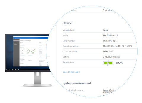 The new extended dashboard makes system help desk staff more productive, by providing additional information such as device uptime, battery state, BIOS version and more. (Graphic: Business Wire)