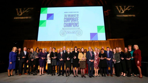 During the Breakfast of Corporate Champions, WGL accepted the Parity Award by the Women's Forum of New York for accelerating gender parity in the boardroom with 44 percent of its Board of Director seats held by women.  This year, the Women's Forum of New York recognized only 43 companies out of the Fortune 1000 and S&P 500 companies that reached this threshold of approaching gender equality, ranking WGL among less than 5 percent of companies regarded as game changers for women on boards. (Photo: Business Wire)