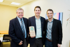 Staples accepting a Forest Stewardship Council Leadership Award at Knoll Showroom in Boston on November 8, 2017. From left to right: Mark Buckley, VP sustainability, Staples, Corey Brinkema, US president, FSC, Jake Swenson, director sustainability, Staples Photo credit: Ebersole Photography