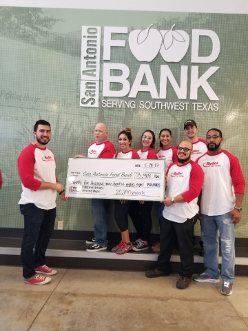 Ryder employees supported the San Antonio Food Bank where they packed over 25,988 pounds of food on  ...