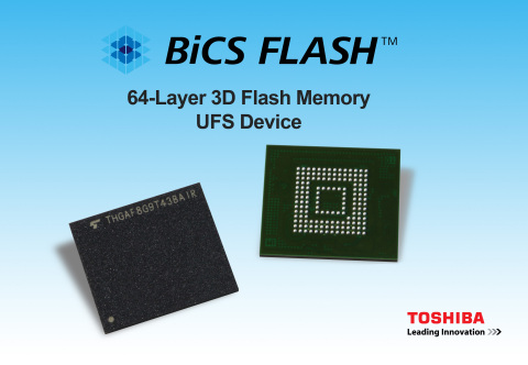 Toshiba's new UFS devices are based on its cutting-edge 64-layer BiCS FLASH 3D flash memory and will be available in four capacities: 32GB, 64GB, 128GB, and 256GB. (Graphic: Business Wire)