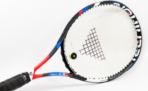 Courtmatics' Smart Dampener serves as a direct replacement to a traditional racquet dampener naturally fitting directly on the strings. (Photo: Business Wire)