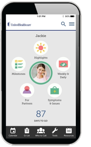 The new UnitedHealthcare Healthy Pregnancy mobile app provides important resources for expectant women and parents, including the ability to connect with a registered nurse 24/7 for support and information (Photo: UnitedHealthcare).
