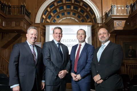 From left: John Huff, Immediate Past President of NAIC; Kevin O'Donnell, President and CEO of RenaissanceRe; Aidan Kerr, Director of Operations for Flood Re; and Stephen Weinstein, Group General Counsel of RenaissanceRe and Chairman of the RenaissanceRe Risk Sciences Foundation. Photo credit: Daniel Jones