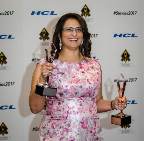 Global Upside COO Gita Bhargava Wins Stevie Awards for Entrepreneur of the Year and Executive of the Year. (Photo: Business Wire)