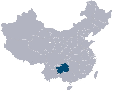 Guizhou Province, highlighted above, is the location of the landmark collaboration between Jinzi and Fluence. (Graphic: Business Wire)