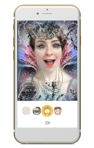 Introducing three sparkling AR filters in YouCam Apps with Swarovski crystals for an instant virtual holiday beauty experience directly from your phone (Photo: Business Wire)