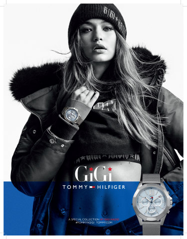 Gigi Hadid wearing the Fall'17 Tommy Hilfiger 'must have' watch of the season (Photo: Business Wire)