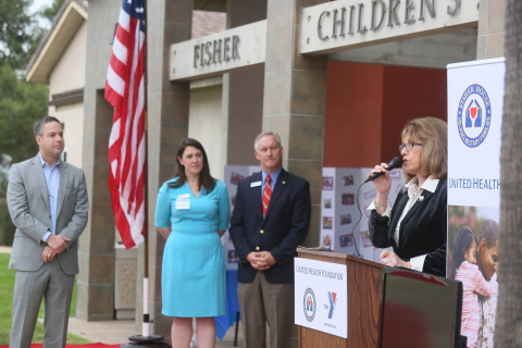 State Sen. Patricia Bates speaks at a grant announcement event today at Fisher Children's Center at  ...