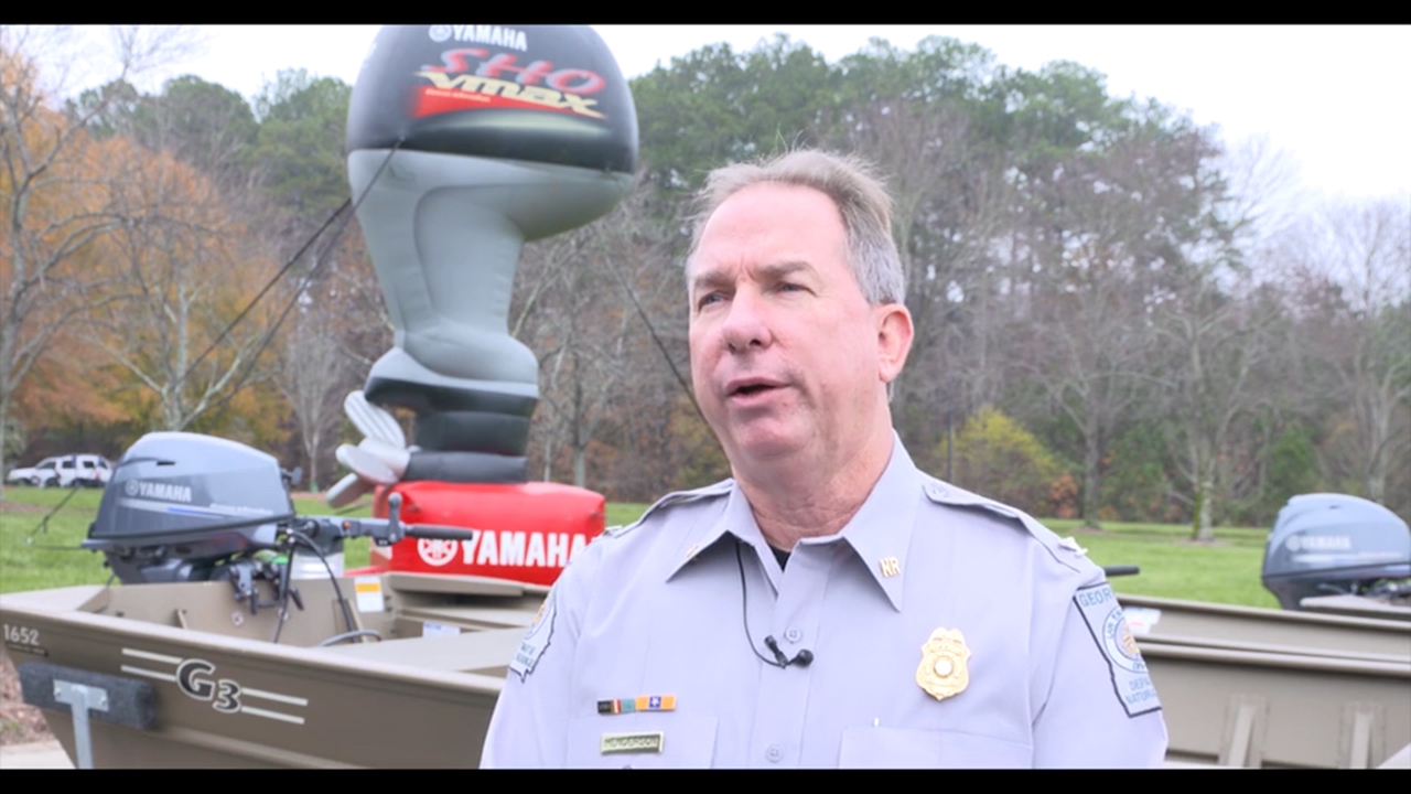 Yamaha Marine Group donates four G3 boats powered by Yamaha four-stroke outboards to the Georgia Department of Natural Resources at Yamaha Marine's headquarters in Kennesaw, Ga. on Dec. 1, 2017. (Video: Business Wire)