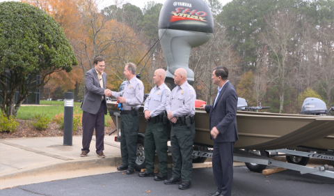Yamaha Marine Group President Ben Speciale presents Colonel Eddie Henderson of the Georgia Department of Natural Resources with four G3 boats powers by Yamaha four-stroke outboards at Yamaha Marine Group's headquarters in Kennesaw, Ga. on Friday, Dec. 1, 2017. (Left to Right) Ben Speciale, President, Yamaha Marine Group Colonel Eddie Henderson, Georgia Department of Natural Resources Corporal Bart Hendrix, Georgia Department of Natural Resources Sergeant Jason Roberson, Georgia Department of Natural Resources Martin Peters, Manager, Government Relations, Yamaha Marine Group (Photo: Business Wire)