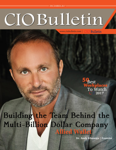 """Dr. Andy Khawaja on the cover of CIO Bulletin for Allied Wallet's feature as """"Best Workplace"""" (Photo: Business Wire)"""