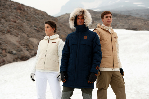 Columbia's Echo Base Collection inspired by Star Wars: The Empire Strikes Back. From left to right: Leia Organa Echo Base Jacket, Han Solo Echo Base Parka, Luke Skywalker Echo Base Jacket. (Photo: Business Wire)