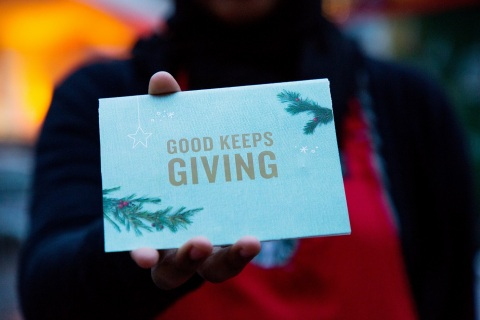 "Starbucks ""Give Good"" squads will be out and about in their red and green aprons to deliver surprise gifts of $20 Starbucks Cards during community celebrations across the United States during the month of December. (Photo: Business Wire)"