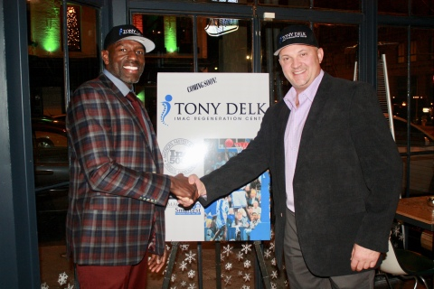 University of Kentucky Hall of Famer, Tony Delk and IMAC Regeneration Centers Founder, Dr. Matt Wallis, celebrate the announcement of the Tony Delk IMAC Regeneration Center coming to Lexington in the spring of 2018. (Photo: Business Wire)