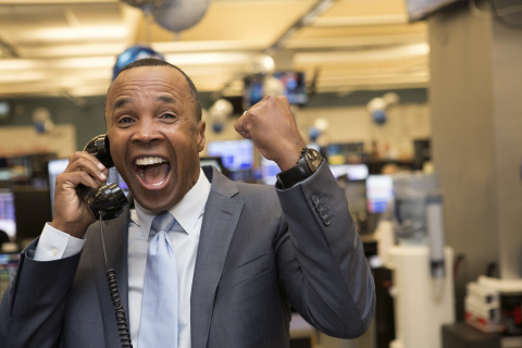 NEW YORK, NEW YORK, DECEMBER 5, 2017: Former professional boxer Sugar Ray Leonard raising money for the Sugar Ray Leonard Foundation during the Annual ICAP Charity Day on December 5, 2017 in Jersey City, NJ. (Photo: Business Wire)