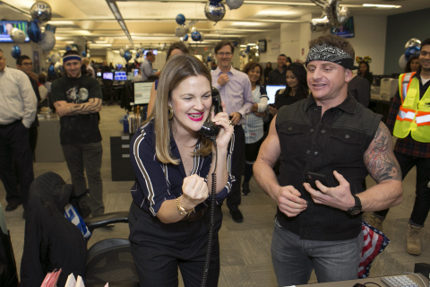 NEW YORK, NEW YORK, DECEMBER 5, 2017: Actress Drew Barrymore raising funds for Baby2Baby during the Annual ICAP Charity Day on December 5, 2017 in Jersey City, NJ. (Photo: Business Wire)