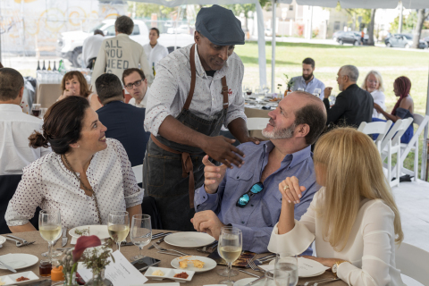 Chef Marcus Samuelsson with Sotheby's and Sentient Jet executives and guests at Luncheon