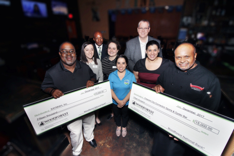 Representatives from Woodforest National Bank, FHLB Dallas and PeopleFund on Tuesday announced $30,000 in Small Business Recovery grants to assist two Houston, Texas, businesses with hurricane recovery efforts. (Photo: Business Wire)