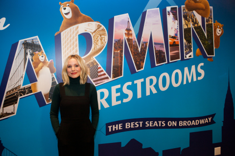 Kristen Bell stopped by Charmin Restrooms in Times Square to surprise husband Dax Shepard, who officially opened the bathrooms on December 6. Charmin Restrooms are free and open to the public December 6-24, 2017. (Photo: Business Wire)